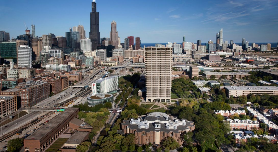 Chicago skyline with UIC in foreground