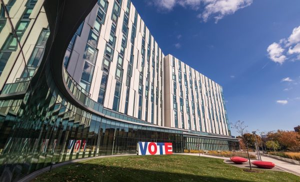 Vote sign on UIC building